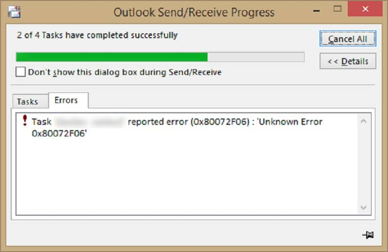 How to Fix Outlook Error Code 0x80072f06