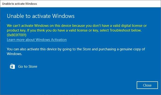 How To Fix Windows 10 Activation Error 0x803f7001
